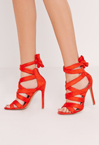 Missguided Ankle Lace Up Heel Red
