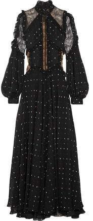 Elie Saab Lace-Paneled Polka-Dot Silk-Blend Chiffon Gown