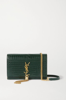 Saint Laurent Kate Small Croc-effect Leather Shoulder Bag - Green