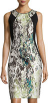 Lafayette 148 New York Alora Silk Jacquard Sheath Dress, Mint Multi