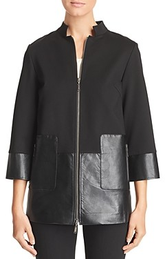 Misook Faux Leather-Paneled Zip Jacket