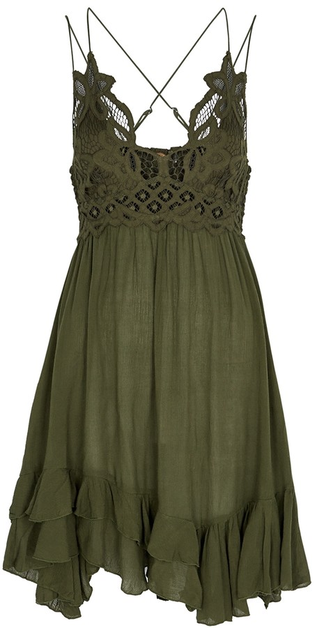 Free People Adella army green lace-trimmed mini dress
