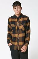 Brixton Bowery Plaid Long Sleeve Button Up Black & Gold Shirt