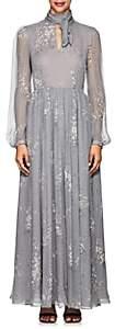 Co Women's Floral Silk A-Line Midi-Dress-Gray