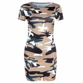 QIYUN.Z Women's Short Sleeve Camouflage Summer Package Hip Slim Dress
