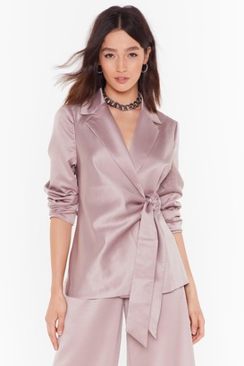 Nasty Gal Womens Make It Slick Satin Tie Blazer - grey - 8