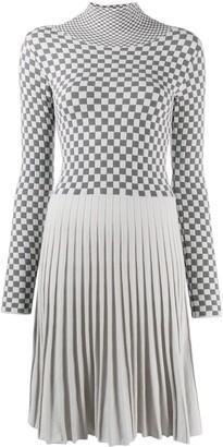 Emporio Armani Checked Pleated Panel Dress
