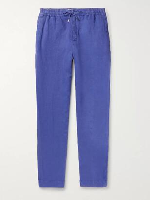 Mr P. Tapered Linen Drawstring Trousers - Men - Blue