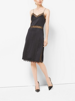 Michael Kors Chantilly Lace and Silk Charmeuse Slip Dress