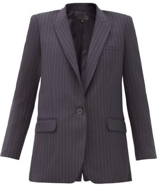 Nili Lotan Diane Pinstriped Single-breasted Wool-blend Jacket - Navy Multi
