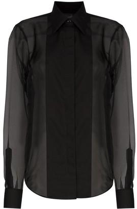 Helmut Lang sheer tuxedo style shirt