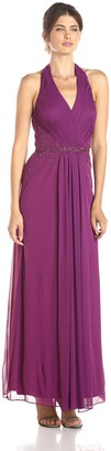 JS Boutique Women's Halter Gown with Beads at Sheer Waist