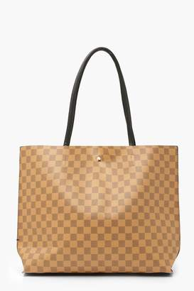 boohoo flannel Large Popper Tote Shopper Bag