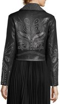 Alice + Olivia Cody Studded Lamb Leather Moto Jacket, Black