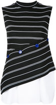 Le Ciel Bleu stripe button contrast top - women - Cotton/Nylon/Polyurethane - 38