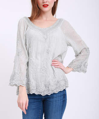 Couture Simply Women's Blouses Grey - Gray Lace Three-Quarter Sleeve Top - Plus