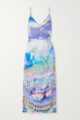 Amiri Tie-dyed Silk-crepon Wrap Dress - Purple