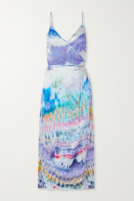 Amiri Tie-dyed Silk-crepon Wrap Dress - Purple