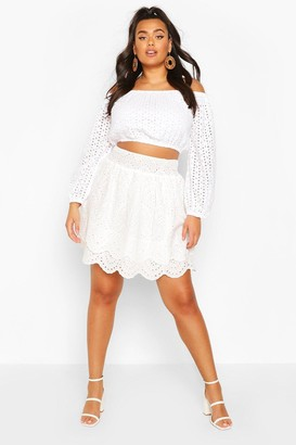 boohoo Plus Broderie Anglaise Ruffle Tiered Skater Skirt
