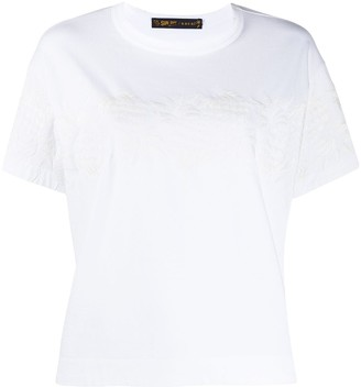 Sacai short sleeve embroidered floral T-shirt