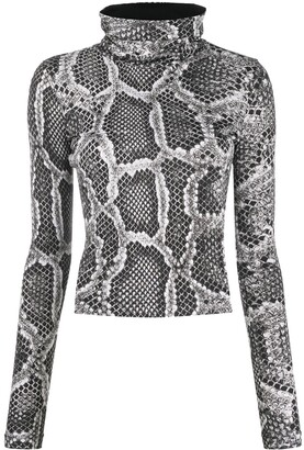 Just Cavalli Snakeskin-Print High-Neck Top