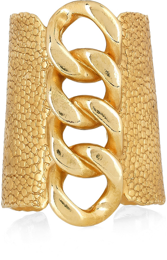 Yves Saint Laurent Gold-plated stingray-effect chain cuff
