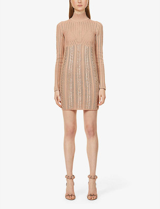 Herve Leger Knitted-pattern high-neck stretch-jersey mini dress