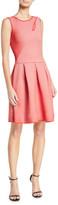 Emporio Armani Rosa Volcano Sleeveless Fit-and-Flare Striped Ottoman Dress