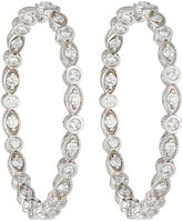 Penny Preville 18k White Gold Marquise & Round Diamond Hoop Earrings
