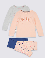 Marks and Spencer 2 Pack Cotton Pyjamas with Stretch (9 Months - 8 Years)