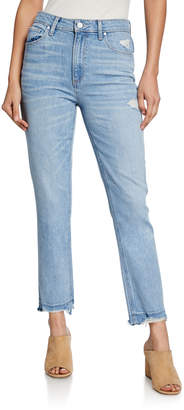 Paige Sarah Slim High-Rise Jeans with Ripped Hem