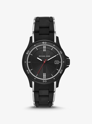 Michael Kors Reid Black-Tone and Silicone Watch