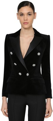 Alexandre Vauthier Double Breast Velvet Blazer W/ Crystals