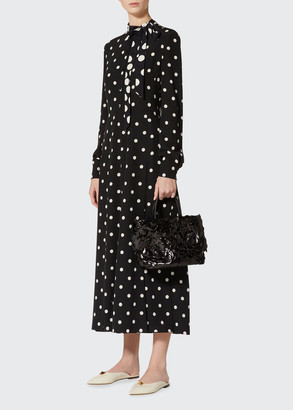 Valentino Polka Dot Neck-Tie Silk Midi Dress
