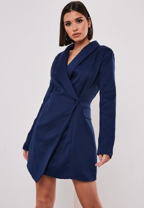 Missguided Tall Navy Asymmetric Blazer Dress
