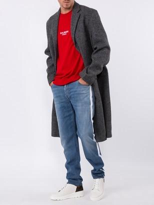 Oamc Wool Single-breasted Coat Grey