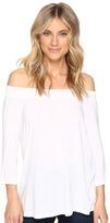 Michael Stars Jersey Lycra 3/4 Sleeve Off Shoulder Top Women's Clothing