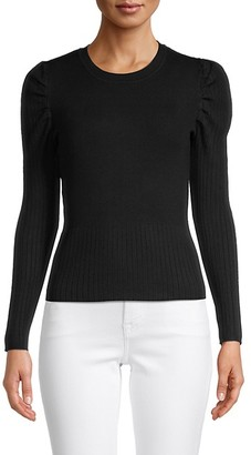 Cliche Puff-Sleeve Ribbed Pullover