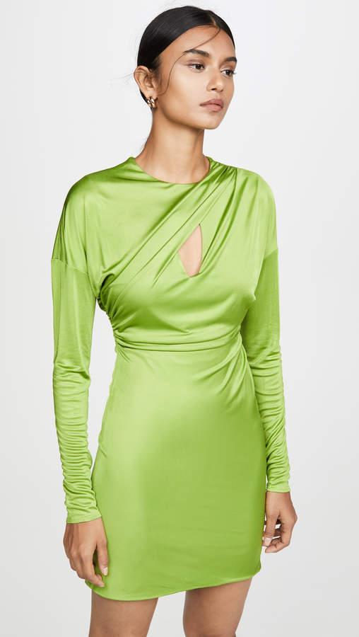 d5a54636 Draped Long Sleeve Mini Dress