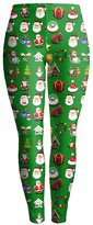 Pink Queen Holiday Symbols All Over Black Juniors Ugly Christmas Leggings