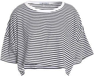 alexanderwang.t Cropped Striped Cotton-jersey T-shirt