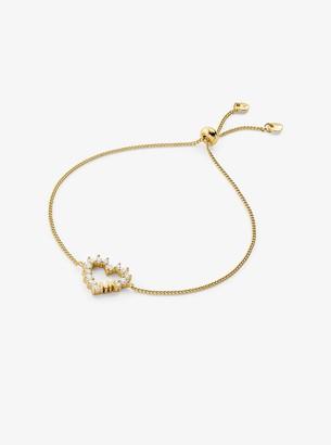 Michael Kors Precious Metal-Plated Sterling Silver Pave Heart Slider Bracelet