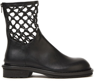 Ann Demeulemeester Macrame-trimmed Leather Ankle Boots
