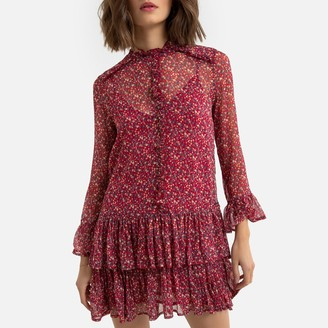 Pepe Jeans Tiered Mini Dress in Floral Print