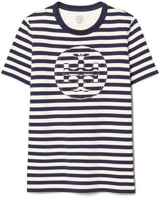 Tory Burch Striped Logo T-Shirt