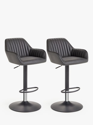 John Lewis & Partners Brooks Gas Lift Adjustable Bar Chairs, Set of 2