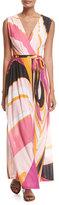 Emilio Pucci Sleeveless Libellula Coverup Maxi Dress, Pink Pattern