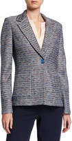 St. John Space Dyed Ribbon Tweed Knit Jacket w/ Patch Pockets