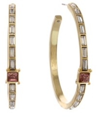 Christian Siriano Gold Tone Hoops with Pink Stone Accent Earrings