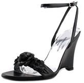 Donatella Lucchi Dl7010 Wedge Women Open Toe Leather Black Wedge Sandal.